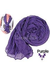 Purple Women's Long Crinkle Scarf Wraps