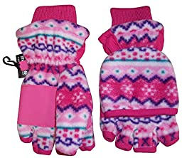 N\'Ice Caps Big And Little Kids Thinsulate Lined Converter Fingerless Glove To Mitten (7-9yrs, fuchsia print)