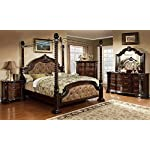 MONTE VISTA Bedroom Furniture Luxurious Formal Traditional Cherry Finish Wooden Queen Size Bed w Canopy Posts Dresser Mirror Nightstand 4pc Set Dark Brown Leatherette Tufted HB