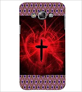 PrintDhaba Cross D-3614 Back Case Cover for SAMSUNG GALAXY E7 (Multi-Coloured)