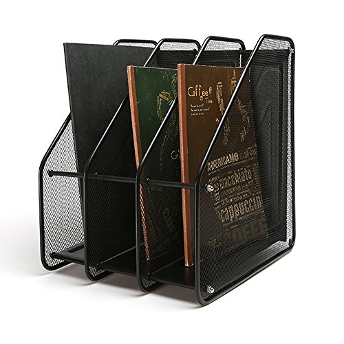 AJ Mesh Collection 3-compartment Mesh Magazine and Literature File, Black Ly-9305