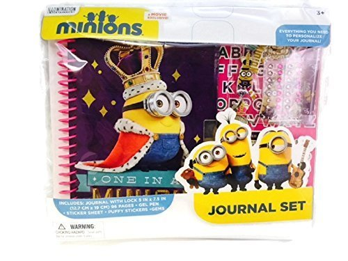 Minions Journal Set Stickers Gems Lock Key Gel Pen Despicable Me (Gem Notebook compare prices)