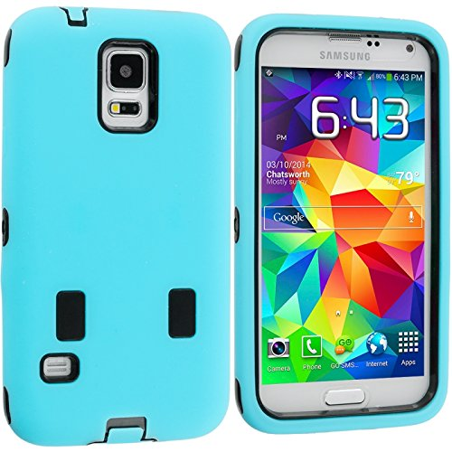 Cell Accessories For Less (Tm) Baby Blue / Black Hybrid Deluxe Hard/Soft Case Cover For Samsung Galaxy S5 - By Thetargetbuys front-1005983