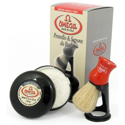 Omega 46065 Shaving Set with Brush, Holder, and Soap in Bowl (Shaving Brush Bowl compare prices)
