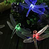 TLT Solar Powered 20 LED Dragonfly Style Fairy String Lights (Multi-color) - Great for Christmas - Party - Patio - Lawn - Pathway - Garden LED013