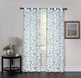 "Studio 1012 Window Curtains - Set of Two Sheer Floral Print Grommet Panels 38""x 84"" - BUY ONE, GET ONE 50% OFF"