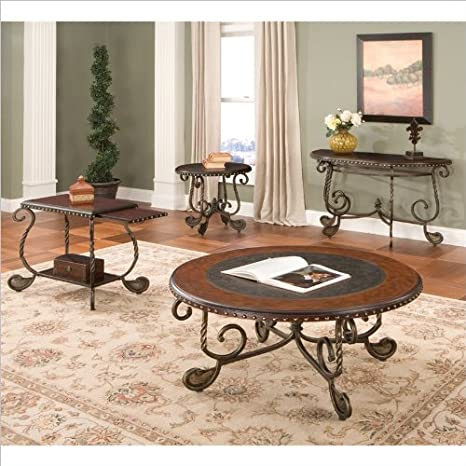 Steve Silver Company Rosemont 3 Piece End Tables and Coffee Table Set in Cherry