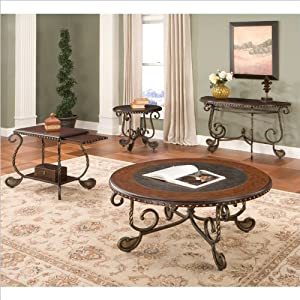 Steve Silver Company Rosemont 3 Piece Chairside Tables and Coffee Table Set in Cherry