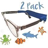 Kids Glasses and Sunglasses Strap - 2 Pack | Anti-Slip Active Glasses Strap | Bonus Deep Sea Adventure Stickers | COLORS