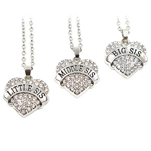 Elefan Cornelia Jewelry White Crystal Pendant Necklace Set for Sisters Big Sister middle Sister little Sister (3 PCS) (Lil Girls Necklace compare prices)