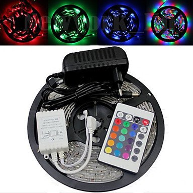 M.M Waterproof 5M 300X3528 Smd Rgb Led Strip Light And 24Key Remote Controller And Ac110-240V To Dc12V3A Transformer
