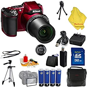Nikon COOLPIX L840 Digital Camera with 38x Optical Zoom and Built-In Wi-Fi (Red) + Case + 32 GB Card + Reader + 6pc Starter Set + Tripod