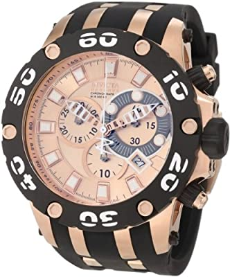 Invicta Men's 0919 Subaqua Reserve Chronograph Rose Dial Black Polyurethane Watch from Invicta