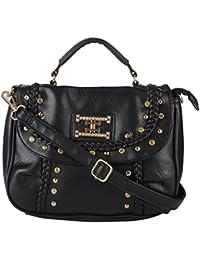 Lavu & Me Women's Handbag Girls Sling Bag & Casual Evening Fancy Black Ladies Cross-Body Bag (Black, LE053)