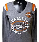 Harley-Davidson Women's Screamin' Eagle Triblend Jersey V-Neck Shirt HARLLT0150