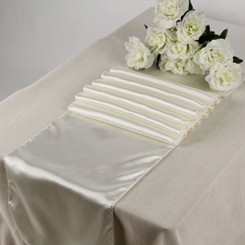 MDS Pack Of 10 Wedding 12 x 108 inch Satin Table Runner Wedding Banquet Decoration- Ivory
