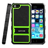 SUPCASE Apple iPhone 5S / 5 Kickstand Dual Layer Hybrid Protective Case - Impact Resistant Bumper, Black/Green, Not Compatible with iPhone 5C / 4 / 4S