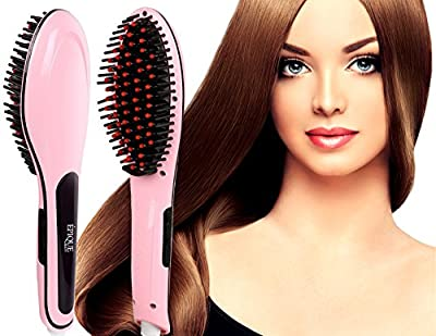 Epique Beauty Hair Straightener Brush - Electric Detangling Hair Comb - Hair Straightening Irons,Instant Magic Silky Straight Hair Styling, Anion Hair Care, Anti Scald