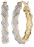 18k Yellow Gold-Plated Two-Tone Twisted Hoop Earrings