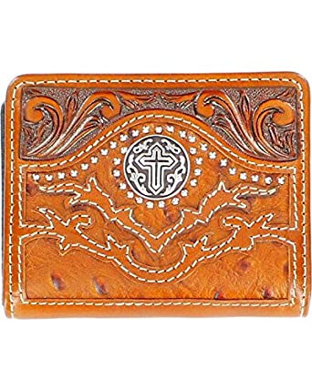 Nocona Men's Tooled Overlay Ostrich Print Studded Cross Concho Bi-Fold Wallet Tan One Size
