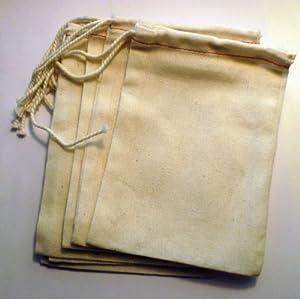 "Cotton Drawstring Muslin Bags, 3"" X 5"" - Pack of 25"