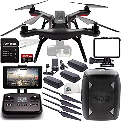 3DR Solo Quadcopter (No Gimbal) with Manufacturer Accessories + 2 Extra 3DR Flight Batteries + 2 3DR Propeller Sets + 3DR Solo Backpack + SanDisk Extreme PRO 32GB Micro SDHC Memory Card + MORE