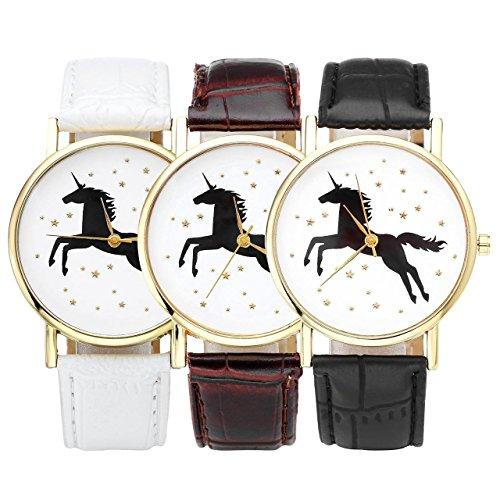 JSDDE-Mignonne-Montre-Bracelet-Quartz-Unicorne-Licorne-Etoiles-Or-Cadran-Blanc-Bracelet-Noir