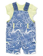2 Piece Pure Cotton Beach Print Bibshort Dungaree Outfit
