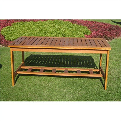 Hannon Outdoor Patio Two-Tier Wood Coffee Table image