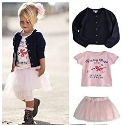 Salon Couture Little Girls Cardigan Pettiskirt and Tee Set M fits 1-2 yr