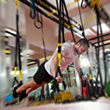 PhysioRoom Suspension Trainer - Aerobic, Resistance & Strength Training Straps - Home Gym Bodyweight Workout Kit. Personal Body Sculpture MMA Fitness Training - As used in the Military - Black / Yellow
