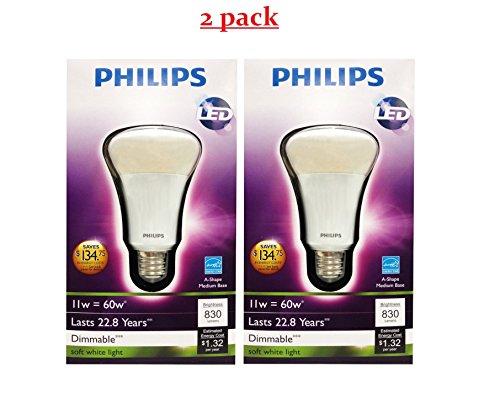2 Pack Philips 424381 11-watt A19 LED Household