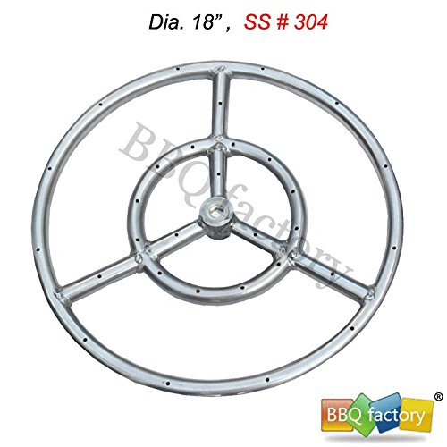 bbq factory Stainless Steel Fire Pit Burner Ring, 18-Inch dia, SS #304 (Fire Burner Ring compare prices)