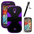 MINITURTLE, Dual Layer Tough Skin Dynamic Hybrid Hard Phone Case Cover, Clear Screen Protector Film, and Stylus Pen for Android Smartphone Samsung Galaxy Light T399 /T Mobile (Black / Purple)