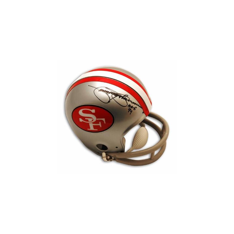 Jimmy Johnson Autographed San Francisco 49ers Throwback Mini Helmet inscribed HOF 94