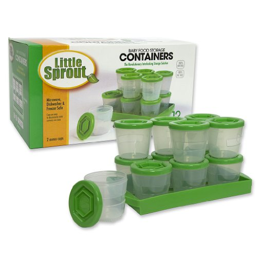 Baby Food Containers By Little Sprout: Reusable Stackable Storage Cups with Tray and Dry-erase Marker (Set of 12 - 2oz) - Green (Little Freezer compare prices)
