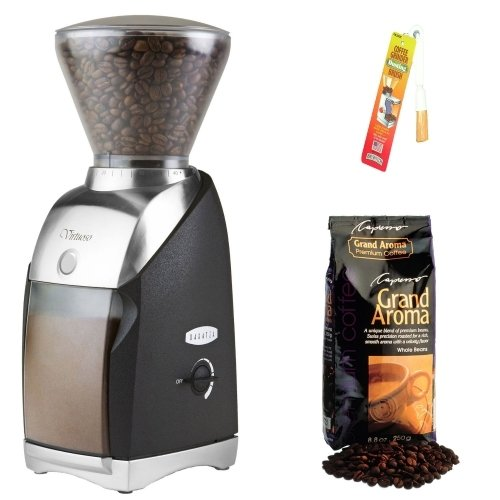 Baratza 586 Virtuoso Coffee Grinder with Dusting Brush and Capresso Grand Aroma Whole Bean Coffee (8.8oz) Swiss Roast Regular