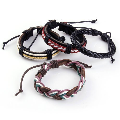 4Pcs Adjustable Surfer Artificial Leather Bracelet Wristband
