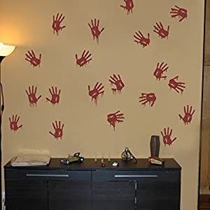 Vinyl creepy wall decal bloody hand prints for Bloody wall mural