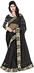 Lizel Fashion Women's Net Saree (B546, Black)