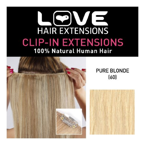 Love Hair Extensions 100% Human Hair Clip In Extensions Colour 60 Pure Blonde 20 Inch