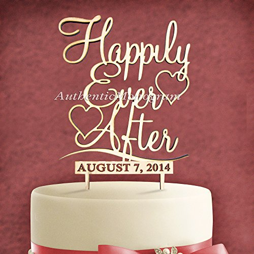 "5"" Wooden Painted Cake Topper Custom Happily Ever After & Day To Remember Monogram, Wedding, Initial, Celebration, Special front-1051747"