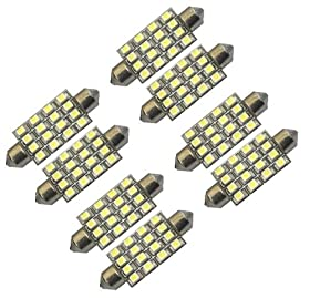 "Cutequeen Red 42mm(1.72"") 16-SMD 12V Festoon Dome Light LED Bulbs 211-2 212-2 569 578 - Red (pack of 8)"