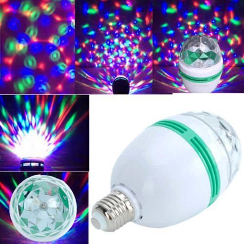 Triangle Bulbs Rgb, Color Changing, Crystal Ball Effect Light, E27, Led Auto Rotating Stage Light, Disco Light, Dj Light, For Party'S, Clubs, Bars, Home,