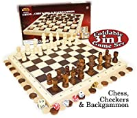 Deluxe 3-in-1 Chess, Checkers & Backgammon Foldable Travel Wooden Game Set