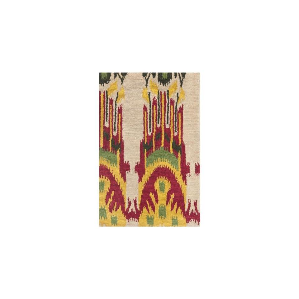 Safavieh Ikat Collection IKT464A Handmade Beige and Yellow Premium Wool Area Rug (4 x 6)