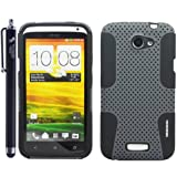 The Friendly Swede 2 in 1 Hybrid Silicone Case Cover Skin Protector for HTC One X+ Universal Stylus -Retail Packaging (Grey and Black, HTC One X)