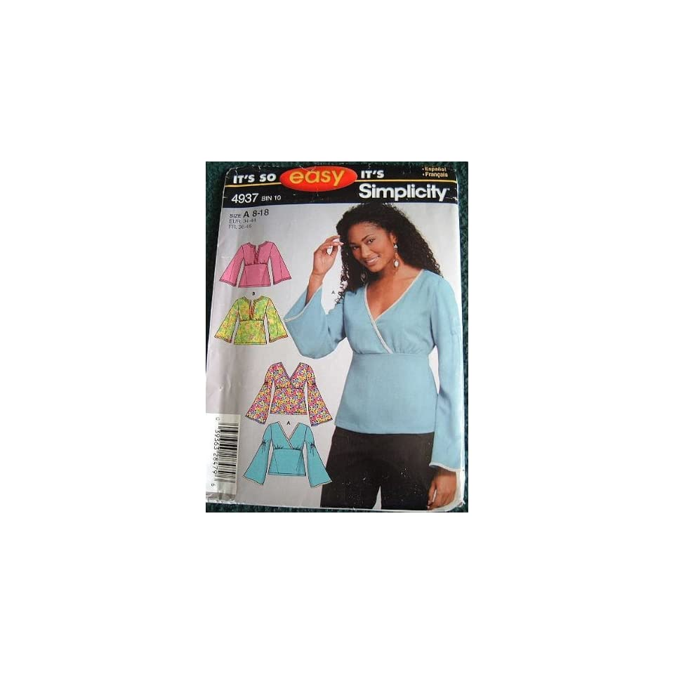 35a57f789 MISSES PULLOVER TOPS SIZES 8 10 12 14 16 18 EASY SIMPLICITY SEWING PATTERN  4937