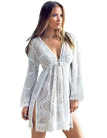 Iconique Bianco White Lace Cotton Kaftan S at Amazon Women's