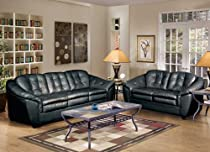 Hot Sale Global U5200 2 Piece Living Room Set In Black Leather